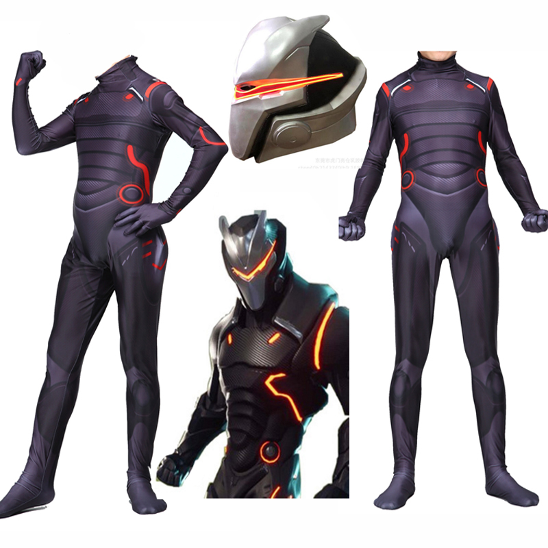 New Adult Kids Game Cosplay Costume Omega Oblivion Link Zentai Bodysuit Suit Jumpsuits Led Mask Halloween