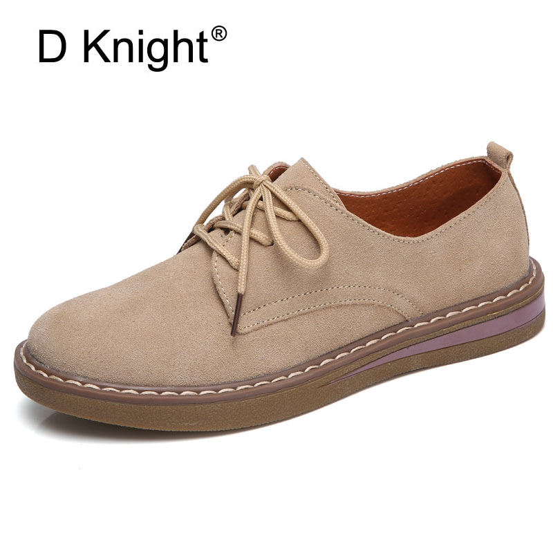Women Flats Cow Suede Leather Casual Brogue Shoes Classic Autumn Platform Girls Oxfords Shoes Woman Swing 2018 New Flat Creepers