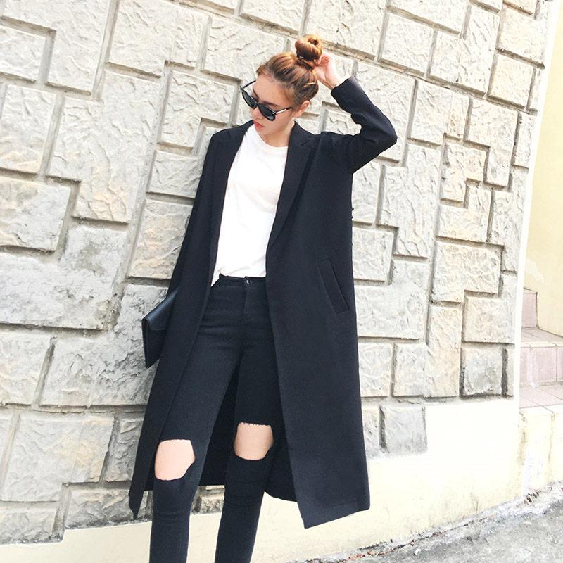 Large Size Women Blazer   Trench   Cardigan Fashion Coats 2019 Spring Long Coat Female Pearls Beading Black Windbreaker Coats f420