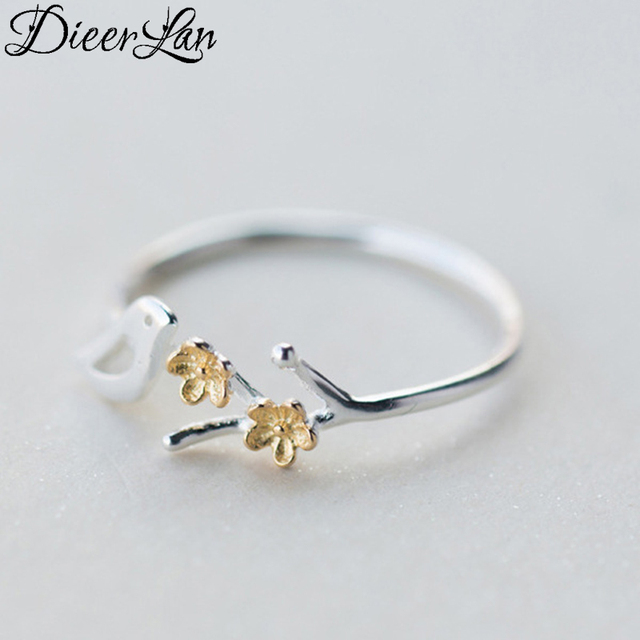 DIEERLAN New 925 Sterling Silver Tree Branches Bird Rings for Women Engagement J