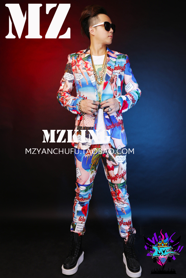 New Arrived Nightclub Male Singer Dj Performance Costume Personality Hawaiian Wind Men Flower Suit Bar Tide Male Guest Suit