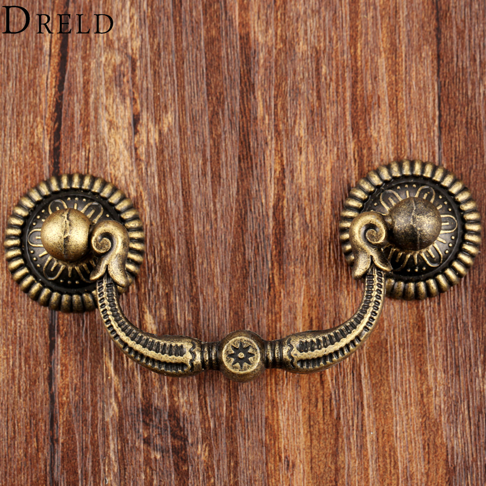 DRELD Vintage Wooden Wine Gift Box Pull Handle Kitchen Furniture Handles Closet Cabinet Knobs and Handles European Style 90 42mm in Cabinet Pulls from Home Improvement