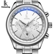IK Marca Hombre Reloj Mecánico Automático Para Hombre 24 Horas Calendario Luminoso Plata Simple Casual relojes de Acero Llena de Relojes de Moda