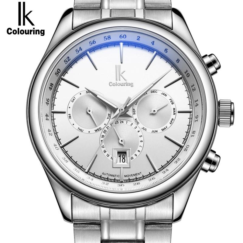 Prix pour IK Marque Homme Automatique Montre Mécanique Hommes 24 Heures Calendrier Lumineux Argent En Acier Plein Montres De Mode Simple Casual relojes