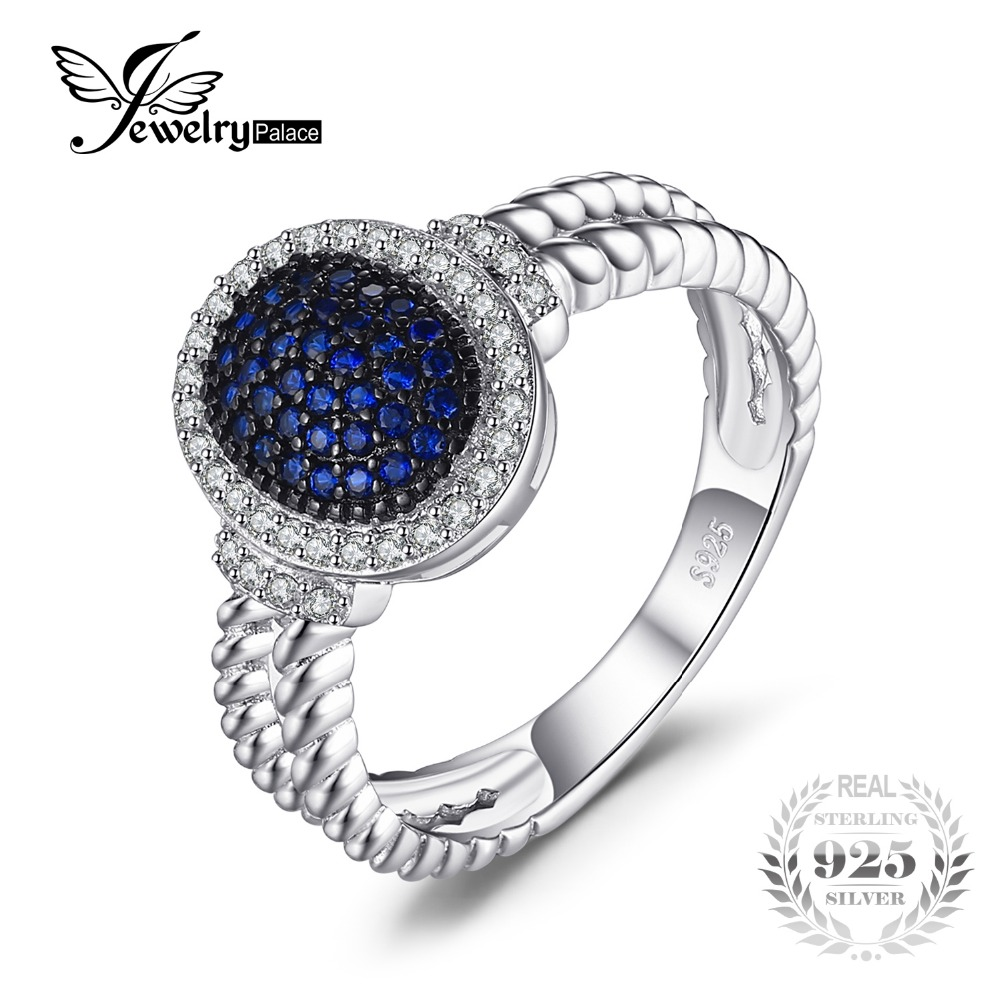 JewelryPalace 0.36ct Created Blue Spinel Cluster Statement Ring 925 Sterling Silver Ring Fine Jewelry for Women цена