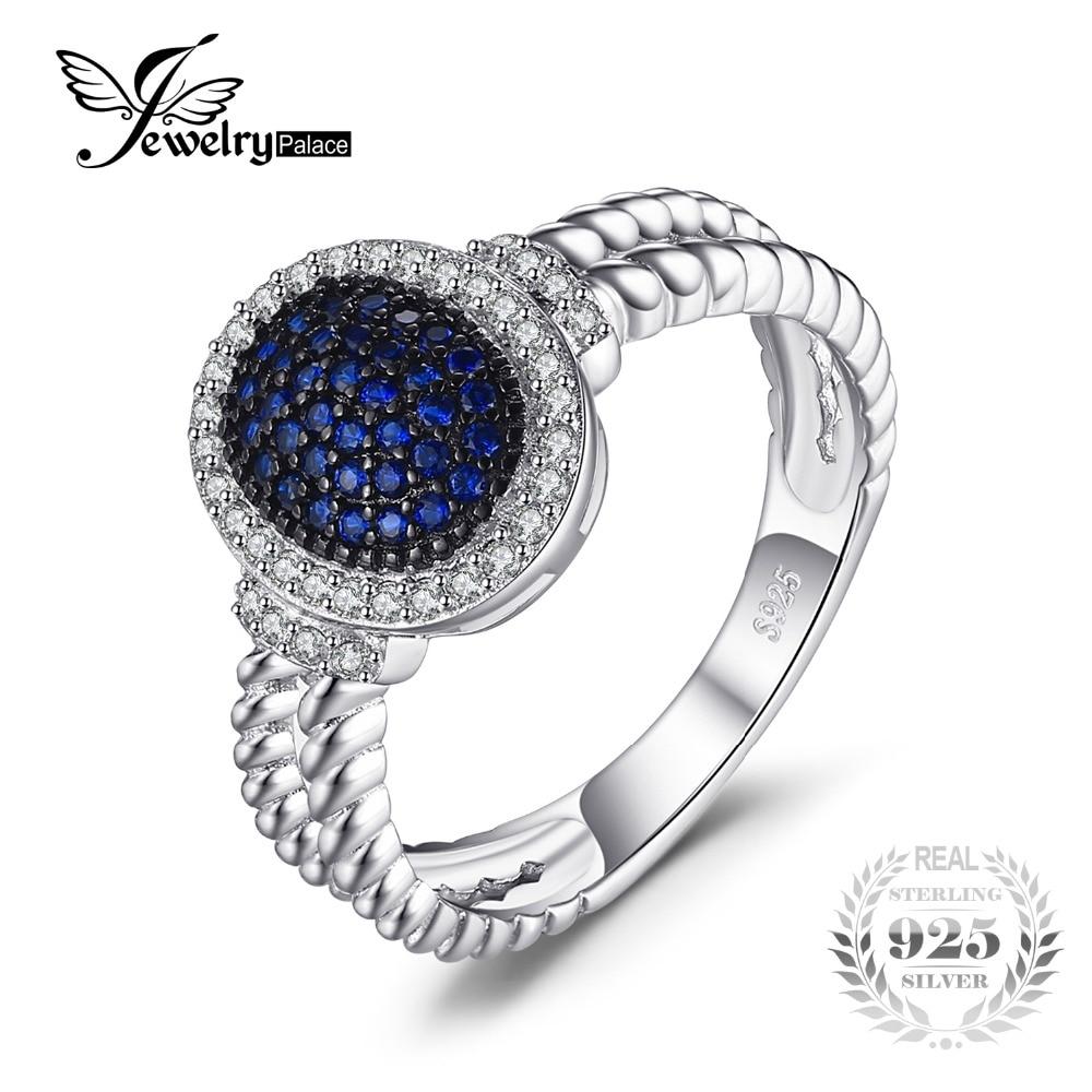 JewelryPalace 0.36ct Creato Blu Spinello Cluster Dichiarazione Anello di 925 Anello In Argento Sterling Gioielleria Raffinata per Le Donne