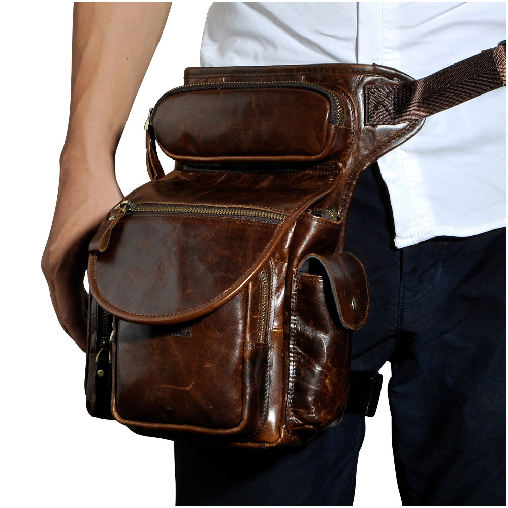 Quality Leather Men Design Casual Messenger Shoulder Sling Bag Fashion Multifunction Waist Belt Pack Drop Leg Bag Pouch 3109-c