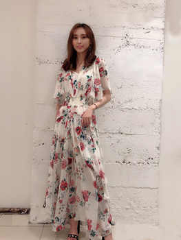 Women\'s dress 2019 summer dress RACHELLE Scarf dress in printed chiffon dress