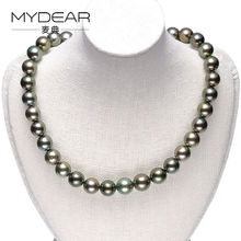MYDEAR Fine Pearl Jewelry Women Natural 9-11mm Tahitian Pearl Necklace,Classic Glossy Black Choker Necklace,Christmas Charms