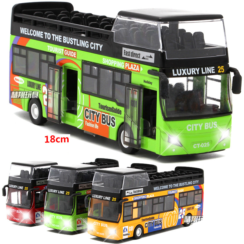 18cm Macau Double Decker Tour Bus Model Alloy Light Music Pull Back Function 2 Open Door Tourism Sightseeing Bus Model Toy Car
