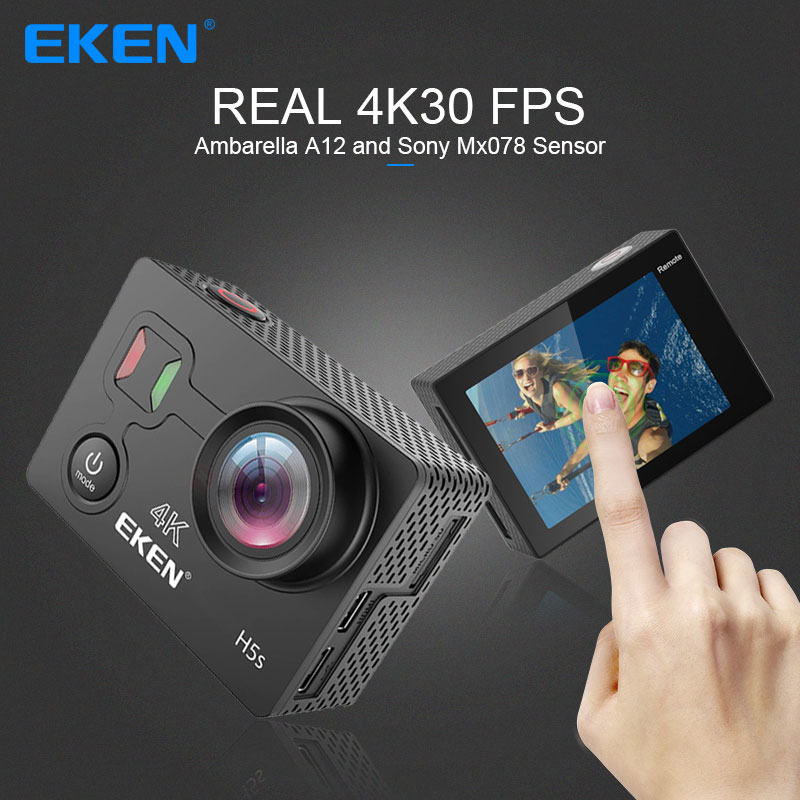 EKEN H5S Plus Action Camera HD 4K 30FPS with Ambarella A12 chip inside 30m waterproof 2.0' touch Screen EIS go sport camera pro 2017 arrival original eken action camera h9 h9r 4k sport camera with remote hd wifi 1080p 30fps go waterproof pro actoin cam