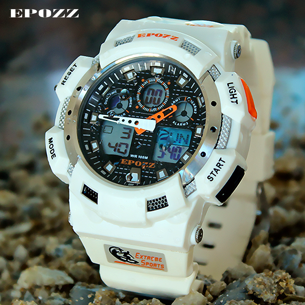 EPOZZ Luxury Brand Men Sports Watches Digital Led Sport Wristwatches 50m Waterproof Outdoor watches Relogio Masculino Male Watch