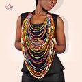 Multistrand Colar africano Ankara Africano Jóias Multi-camadas de Cera Corda Colar Acessórios para Mulheres Africano WYA062