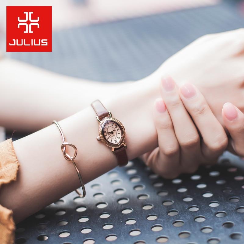 Top Julius Lady Woman Wrist Watch Elegant Retro Fashion Hours Dress Bracelet Leather School OL Girl Birthday Mother's Day Gift