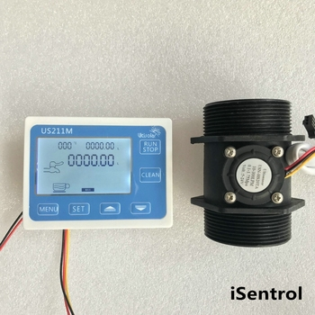 "US211M Flow Meter Totalizer Flow Measurement with Nylon Water Flow Sensor USN-HS20TA G2"" Hall Flow Sensor 10-300L/min"