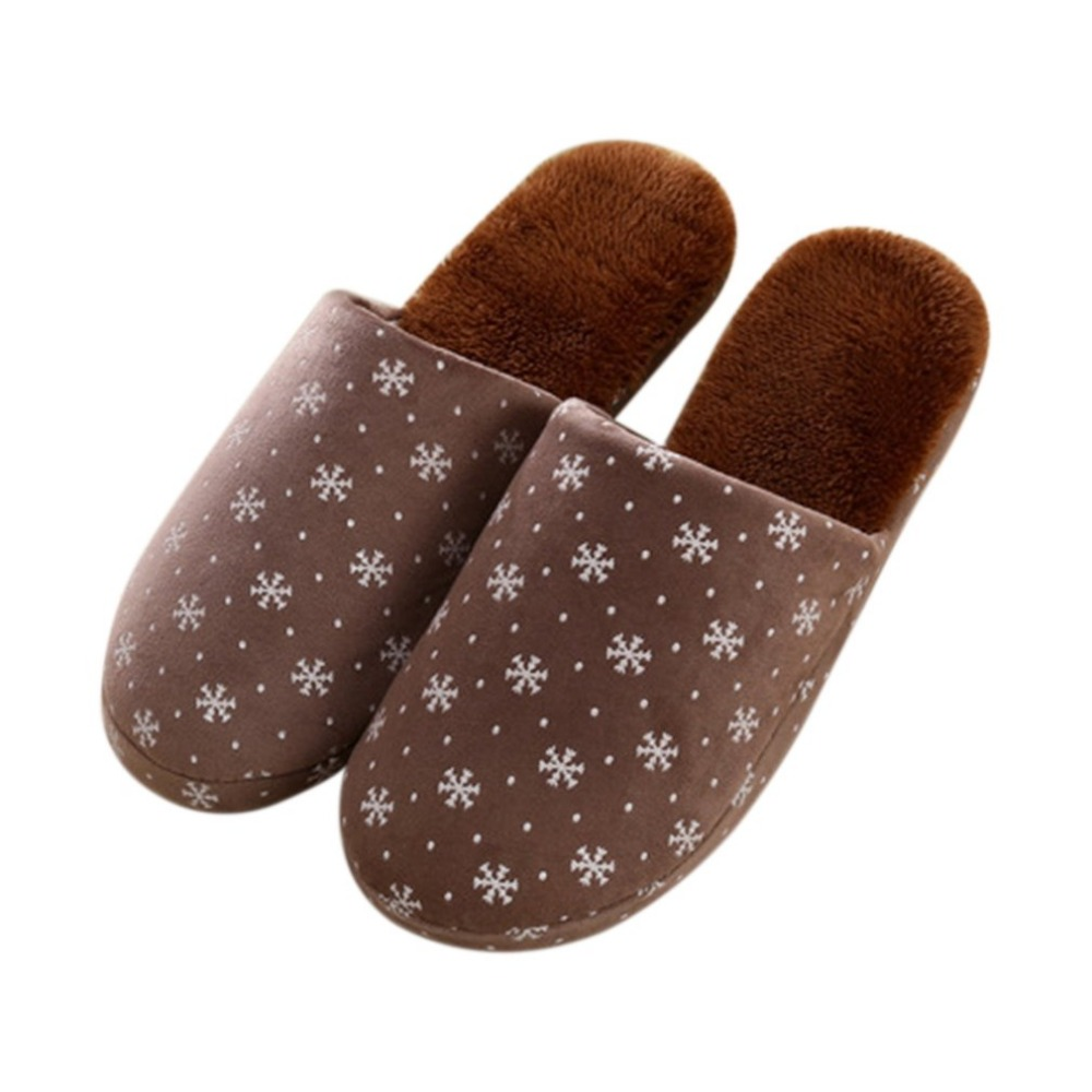 Sweet Snow Flowers Pattern Winter Warm Comfortable Cotton Anti-skid Slippers Soft Plush Couple Lovers Indoor Home Slippernew hack