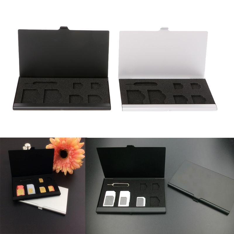 Phone Card Storage Box Monolayer Aluminum Alloy 1 Card Pin + 6 SIM Card Holder Protector Storage Box Case