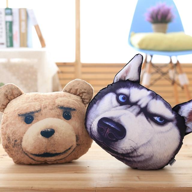 Creative 3d Dog Pillow Cute Huskie Ted Bear Heard Car Pillow Animal