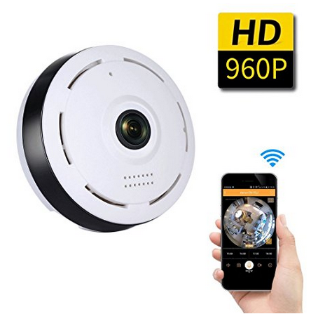 SDETER 960P WiFi Wireless HD 360 Degree Fisheye IP Network Camera, Plug/Play, Day/Night Vision Home Surveillance, Two-Way Audio, 1 3mp hd wifi camera ip 360 degree panoramic fisheye lens ip camera wifi wireless two way audio night vision wifi ip camera