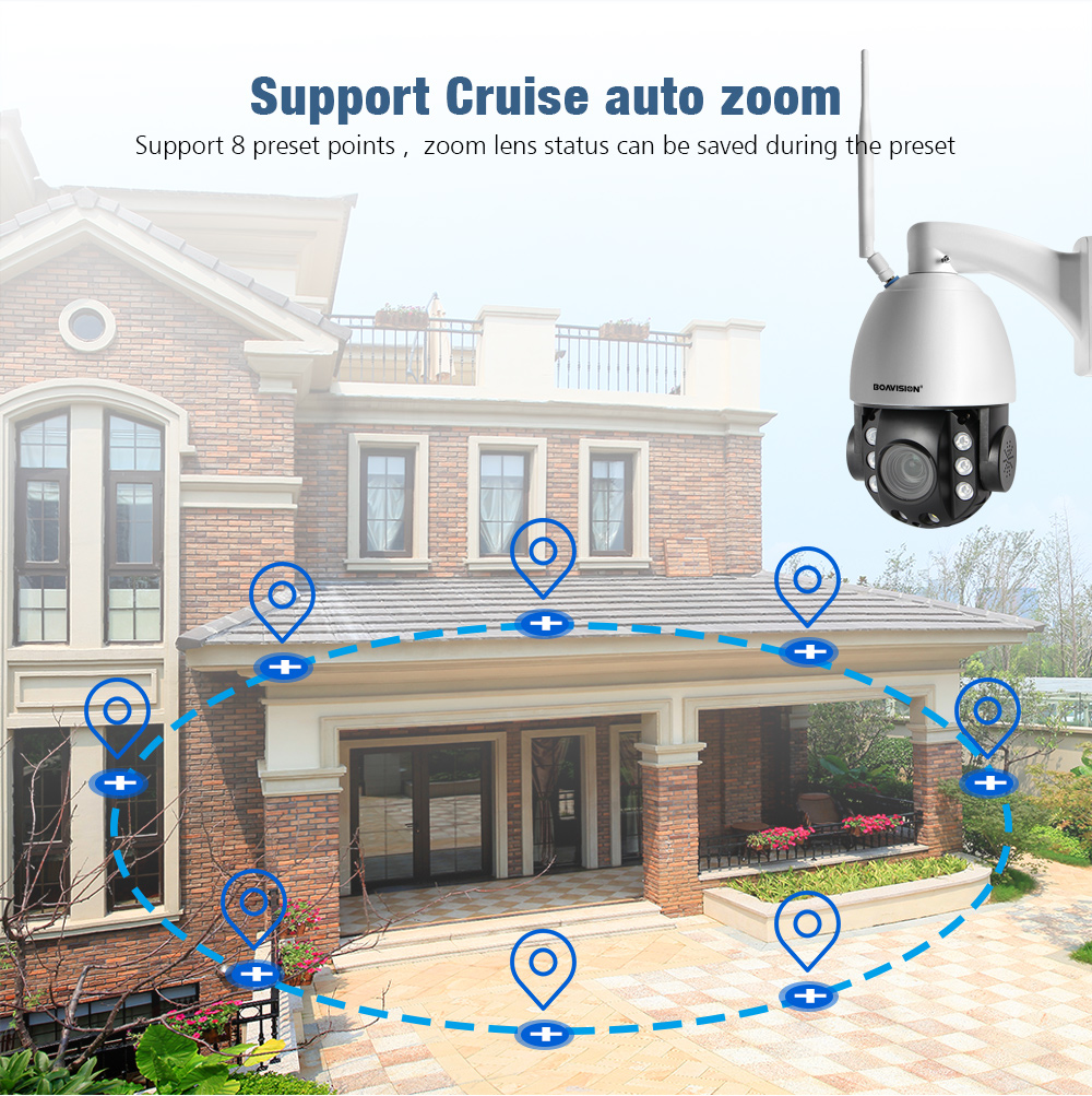 Image 5 - HD 2MP Wireless PTZ Dome IP Cam WIFI 10X / 20X Optical Zoom Outdoor Security Video CCTV Cam Two Way Audio White Light 80M IR-in Surveillance Cameras from Security & Protection
