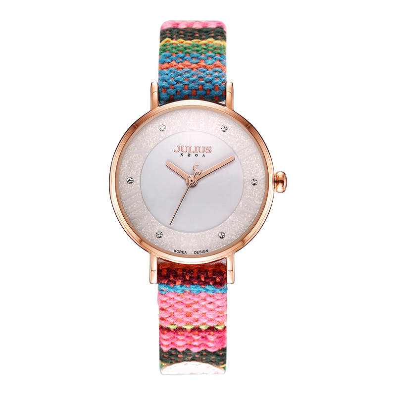 JULIUS Watches Fabric Colorful Bohemia Tweed Drama Retro Style Wristwatch 2018 New Arrival Montre Femme Dress