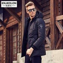 Enjeolon brand long thicken winter down jacket hooded men,White duck down coat male quality men plus size 3XL down parkas YRF903(China)