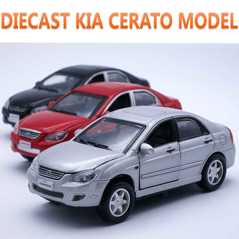 13CM Length Diecast Car, Alloy Cerato Kia Model, Boy/Kids Metal Toys With Openable Door/Pull Back Function/Gift Box/Light/Sound