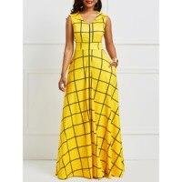 2019 Women Sleeveless Plaid Twilled Satin Yellow Party Dress Summer Dress Elegant Pocket Notched Lapel Blue Dress Long