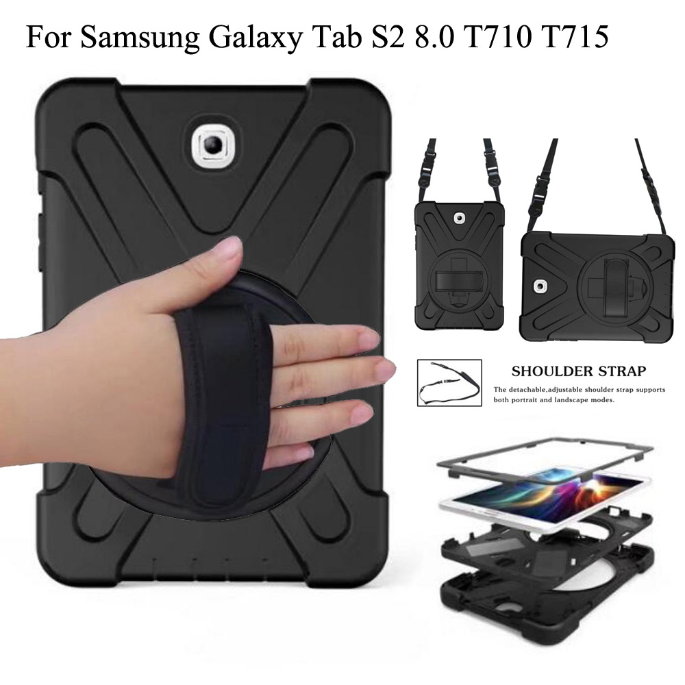 New Case For Samsung Galaxy Tab S2 8.0 SM-T710 T713 T715 Kids Silicone Stand Case Cover With Wrist + Shoulder Strap Funda Coque