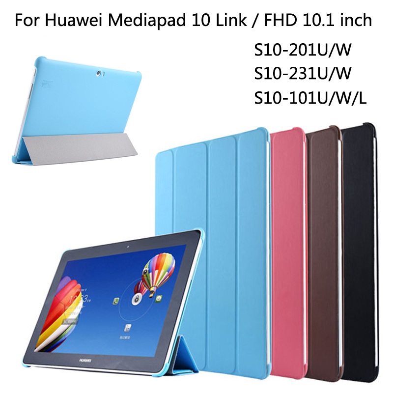 купить For Huawei MediaPad 10 Link / 10 FHD S10-231U/W 201U/W 101U/W/L 10.1 inch Tablet Protective Smart PU Leather Case cover + Stylus по цене 652.94 рублей