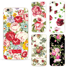 Wholesale New Deluxe Vintage beautiful big Flower Phone case for iPhone 7 case 4.7 inch soft silicone Protective shell