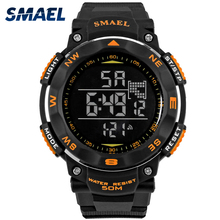 SMAEL Digital Watches 50m Waterproof Sport Watch LED Casual Electronics Wristwatches 1235 Dive Swimming Watch Led Clock Digital cheap Acrylic 21 5cm 5Bar Buckle ROUND 22mm 13mm Hardlex Complete Calendar Shock Resistant Stop Watch LED display Auto Date Water Resistant
