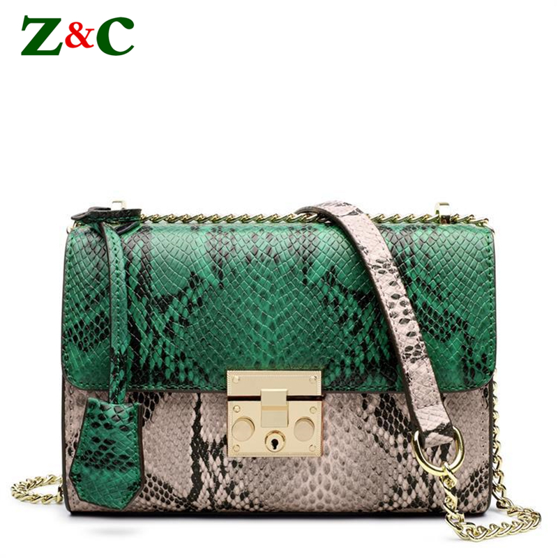 Genuine Cow Leather Serpentine Luxury Brand Patchwork Women Chain Shoulder Bags Women Cowhide Cross Body Bag Snake Skin Flap Bag simple 3d oil painting pearl and rose pattern 4 pcs duvet cover sets without comforter
