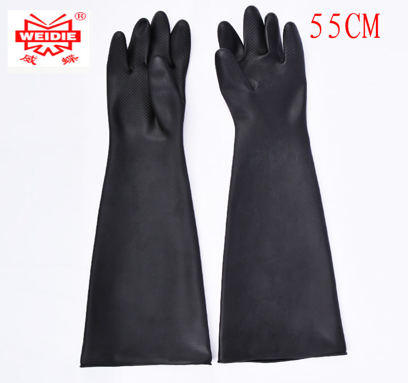 55CM latex protection gloves Acid and alkali Oil resistant safety gloves working Wearable Tear resistant waterproof work gloves 100% natural latex gloves high quality 40cm lengthened red clean work gloves oil resistant acid and alkali protective gloves