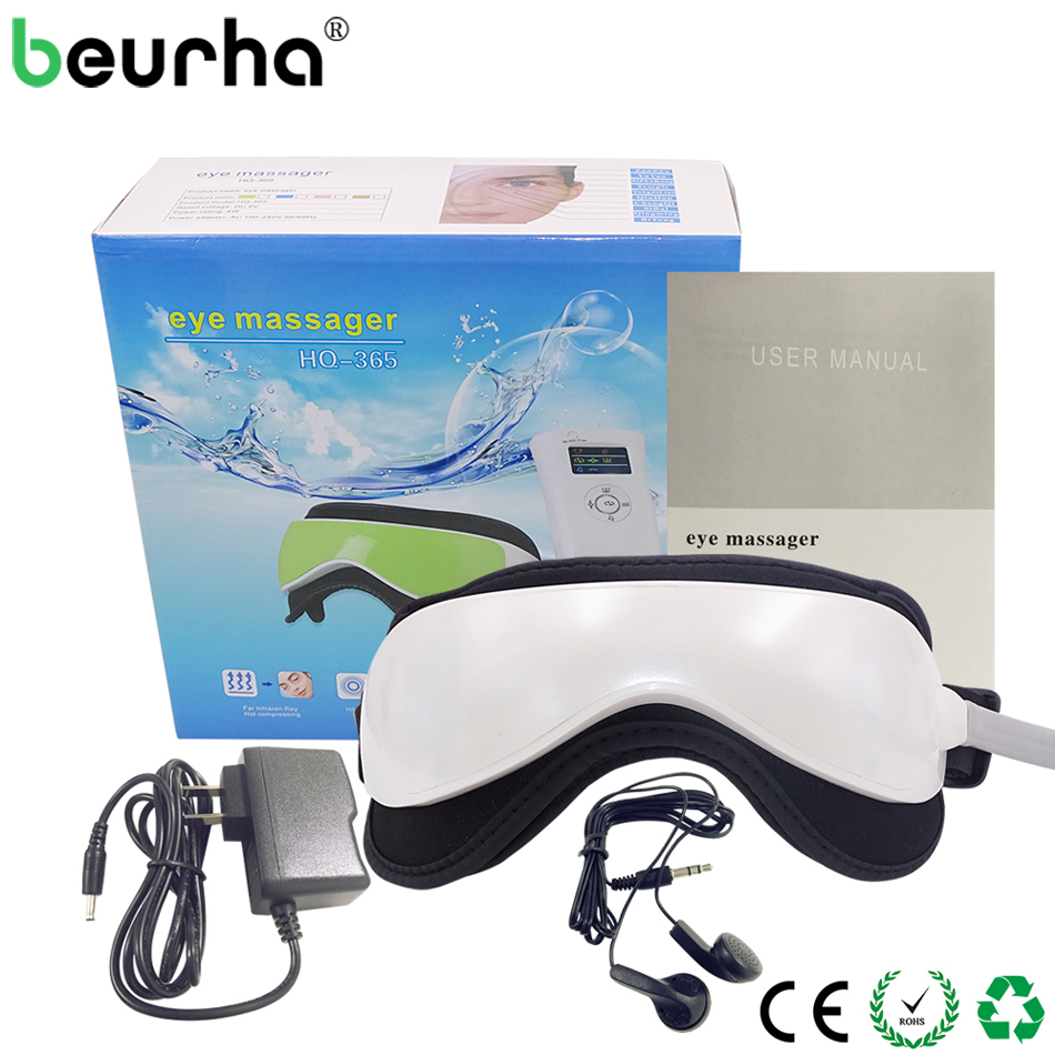 Beurha Electric DC Vibration Eye Massager Machine Music Magnetic Air Pressure Infrared Heating Massage Glasses Eye Care Device electric foot massager health care massage device infrared heating therapy shiatsu kneading acupoints air pressure machine