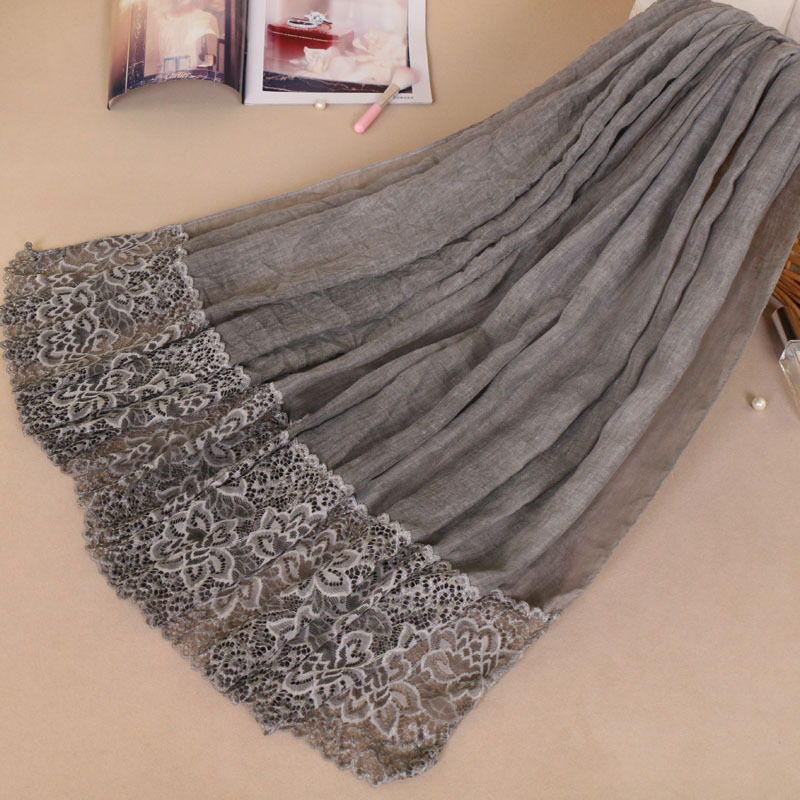 Muslim Amorous Feelings Cotton Woman Baotou Lace Monochrome Lady Scarf New Pattern Hijabs Wholesale 2018 women scarf muslim hijab scarf chiffon hijab plain silk shawl scarveshead wrap muslim head scarf hijab