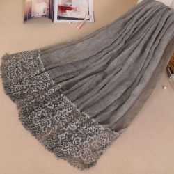 Muslim Amorous Feelings Cotton Woman Baotou Lace Monochrome Lady Scarf New Pattern Hijabs Wholesale