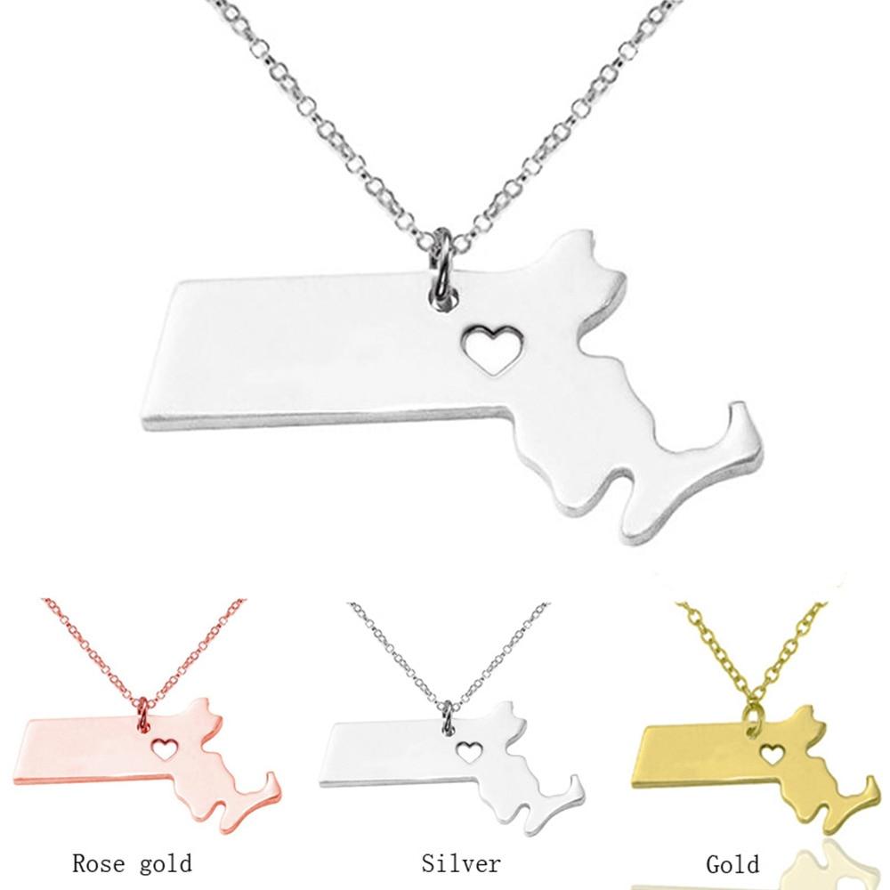 Best deals ) }}SUTEYI Massachusetts State Necklace&pendants Personalized