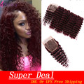 7A Burgundy Brazilian Hair Deep Wave With Closure 4 Bundles With Lace Closure 99J Burgundy Red Wine Brazilian Remy Hair