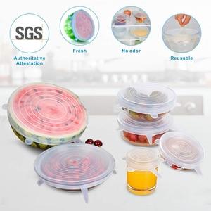 Image 4 - دروبشيبينغ 6 قطعة/المجموعة أغطية سيليكون دائم قابلة لإعادة الاستخدام حفظ الطعام غطاء الحرارة مقاومة يناسب جميع الأحجام والأشكال من حاويات