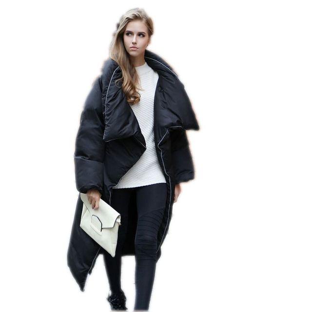 Asimétrico Longitud de la Mujer Chaqueta de Invierno de Gran Cuello de Las Señoras Flojas Abrigos Abajo Mujeres de la Capa 2017 Nuevo Larga Abrigos Mujer Parka Y581