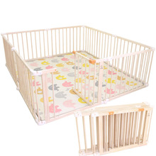 цена Foldable Baby Playpens Indoor Outdoor Game Fence Solid Wood Children's Playpen Baby Toddler Playhouse Play Yards Safety Fence онлайн в 2017 году