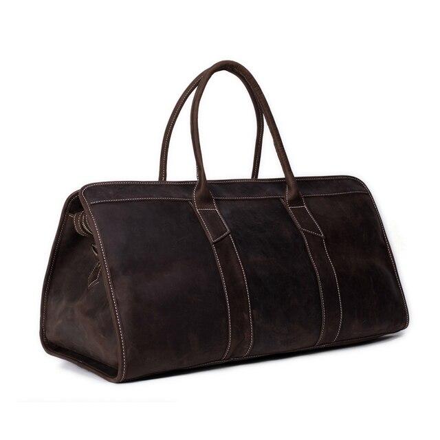 229a66441154 Rockcow большой емкости моды натуральная кожа Мужская Дорожная сумка унисекс  темно-коричневый кожаный сумка для