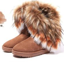 цены Women Snow Boots Winter Ankle Boots Fashion Long Faux Fur Round Toe Women Warm Shoes Lady Fur Flat Thick Heel Slip On Lady Boots