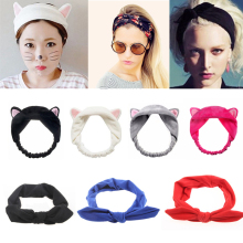 Cute Girls Elastic Headbands Ears Hairband Headwear Turban Knot Head Wraps Women Female Ladies Makeup Turban Hair Accessories amazing 0723 women lace headbands girls elastic hairband hair accessories headwear