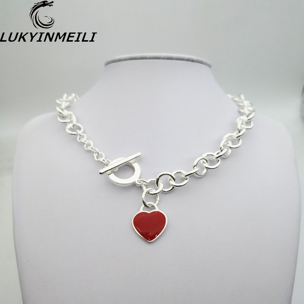 TIFF 1:1 s 925 sterling silver ladies necklace pendant jewelry classic logo heart shaped red round trend female ornament
