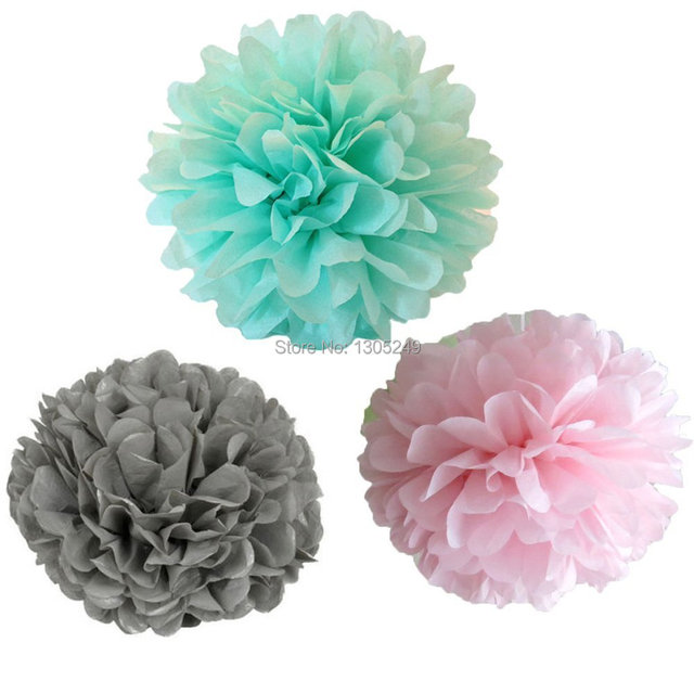 12 mixed mint green gray pink party tissue pompom paper flower pom