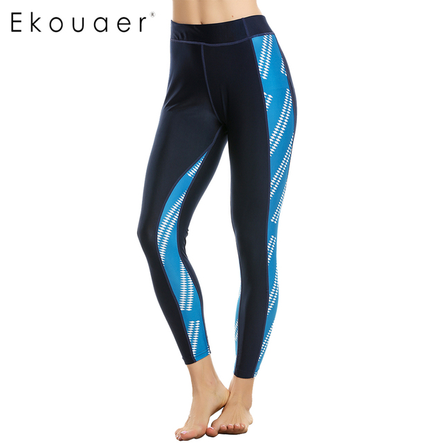 Ekouaer Brand Fashion Women leggings Geometric Print High Waist leggins pant legging for Woman Fitness Leggings size S-XL