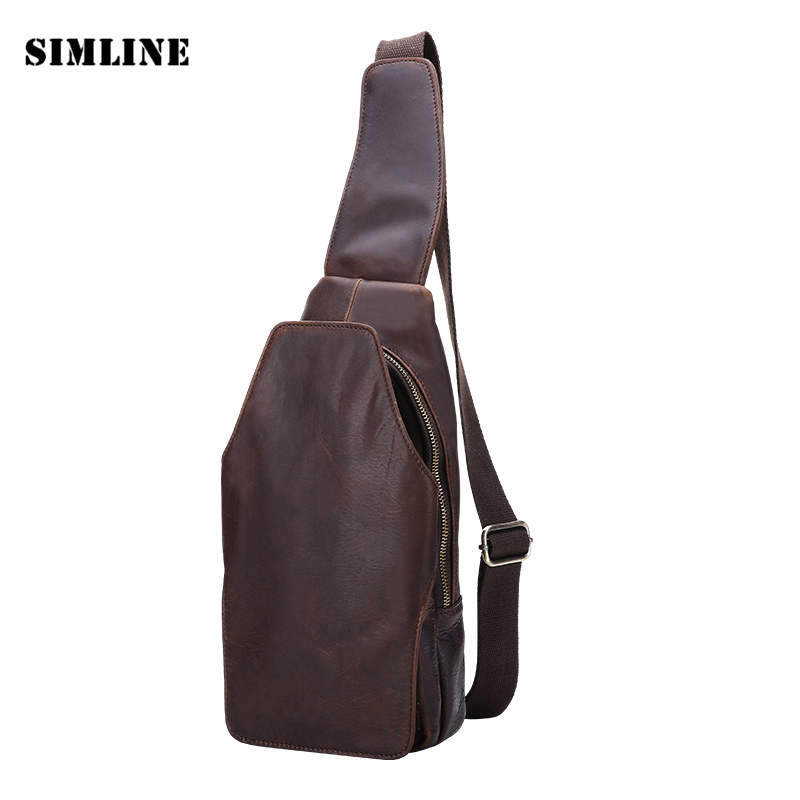 2015 New Vintage Designer 100% Real Genuine Crazy Horse Leather Cowhide Men Chest Messenger Shoulder Crossbody Bag Bags Pack Men цены онлайн
