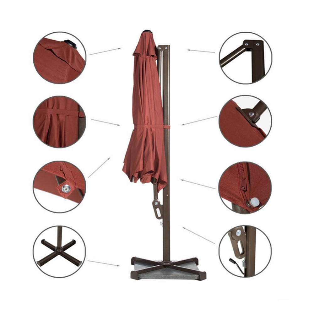 Abba Patio 11 Ft Octagon Cantilever Vented Tilt Crank Lift Patio Umbrella  With Cross Base Dark Red In Patio Umbrellas U0026 Bases From Furniture On ...